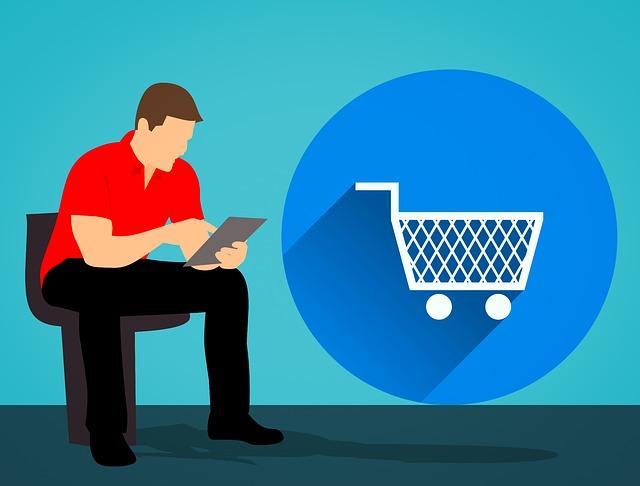 muž a nákup na internetu)